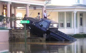 truck in flood